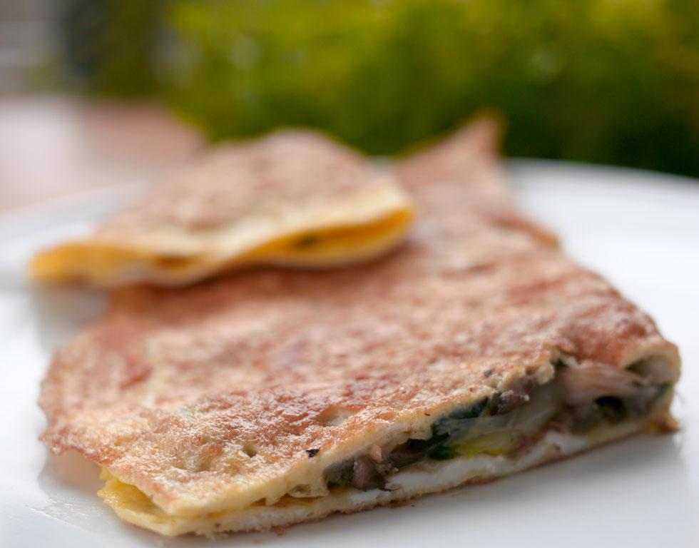 Amerikansk omelet - æggekage - med fyld - www.kvalimad.dk